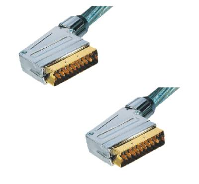 Scart-Kabel 3,0 m, High Quality, vergoldet