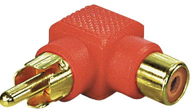 Adapter Winkel-Cinch-Stecker rot, vergoldet