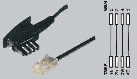 Telefonkabel TAE-F auf Western, Telekom-Siemens, 6,0 m - spezial